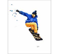 Snowboarder  Original acuarela pintura 8.5 x 11 pulgadas de