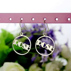 Personalized Round Drop Name Earrings Silver Nameplate Earrings with Circle Frame Letters Jewelry best gift for women