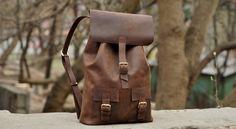 Genuine leather backpack, handmade bag, backpack for men. Model P003. 100% Hand-made.