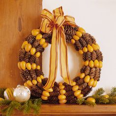This Pinecone-and-Kumquat Wreath would be perfect above a mantle or fastened to your front door.