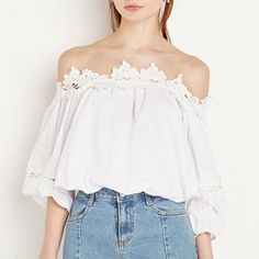 Sexy bateau neckline tops for women white lace splicing banded tops