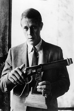 STEVE MCQUEEN IN SUIT HOLDING GUN poster classic CANDID mood 24X36