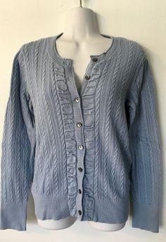 Eddie Bauer Blue Cable Knit Cardigan Sweater size M Womens Ruched  Cotton Blend #EddieBauer #Cardigan