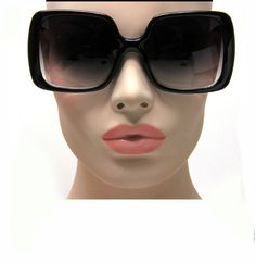 New Women's Vintage Style Black XL Oversized Jackie O Sunglasses Gradient Lens #Unbranded #Square
