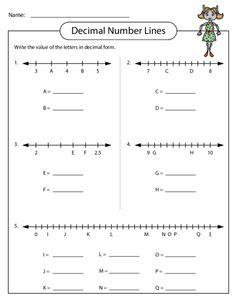 Determine the decimal for the given letter on a number line! #decimalpractice #decimals #freemathworksheets