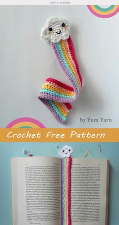 Crochet Cute Rainbow Bookmark Free Pattern Knitting TechniquesKnitting For KidsCrochet Hair StylesCrochet Amigurumi Crochet Gifts, Cute Crochet, Crochet Yarn, Crochet Toys, Crochet Stitches, Crochet Coaster, Crochet Things, Thread Crochet, Chrochet