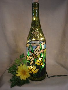 wine bottle lamps | Dragonfly Wine Bottle Lamp Green by PaintingCreationsByD on Etsy, $28 ...