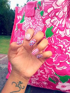 Mani Monday: Flower Power lilly pulitzer inspired how to floral nails floral and stripes