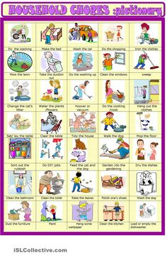 Household chores: new updated pictionary