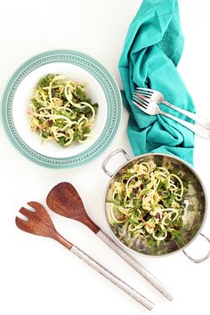 Zucchini & Kale Apple Slaw with Raisins and Almonds