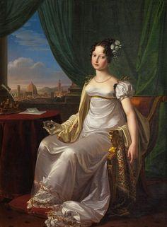 Pietro Benvenuti (1769-1844) Maria Teresa di Toscana, 1817. Pintor italiano del Neoclásico, entre sus obras se encuentra la decoración del Palazzo Pitti, la Capella de San Lorenzo así como retratos. Fue director de la Academia de Florencia.