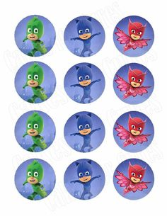 PJ Masks Edible Cupcake Images Cupcake Toppers - Cakes For Cures Pj Masks Cake Topper, Pj Masks Cupcake Toppers, Pj Mask Cupcakes, Decoracion Pj Mask, Pj Masks Printable, Pj Mask Party Decorations, Pjmask Party, Pj Masks Birthday Cake, Festa Pj Masks