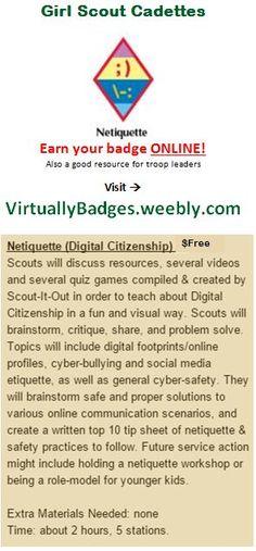 Netiquette Girl Scout Cadette Badge earned online!