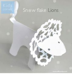 DIY Lion Snowflake Tutorial and Template Please √ Comment √ Share √ Like Thank you  What you never heard of the Snow Lion? The Snow Lion  is a celestial animal of Tibet. It symbolizes fearlessness, unconditional cheerfulness, east and the earth element. It is one of the Four Dignities. It ranges over the mountains, and is commonly pictured as being white with a turquoise mane.
