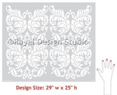 Damask Stencils | Small Acanthus Wall Stencil | Royal Design Studio