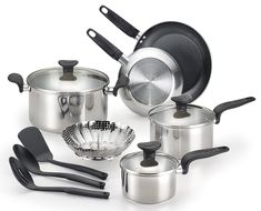 T-fal C917SC Enjoy Stainless Steel Dishwasher Safe Cookware Set, 12-Piece, Silver >>> You can get more details by clicking on the image.