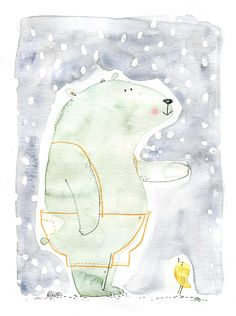 bear snow, aquarelle, Cécile Hudrisier