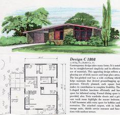 C 1808 Mid Century Modern house, architectural plans Modern Floor Plans, Modern House Plans, Small House Plans, House Floor Plans, Modern Houses, Mcm House, Casas The Sims 4, Vintage House Plans, Architecture Plan