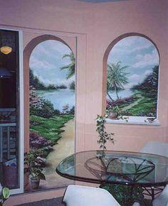 trompe l'oeil garden walls | ... become a trompe l oeil piece of art by adding a trompe arched effect