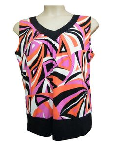Womens ladies V-Neck Multi Coloured Viscose Sleeveless Casual Top Size Size 16