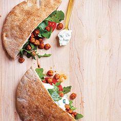 Fried Chickpea and Arugula Pita Sandwiches with Lime Tzatziki.