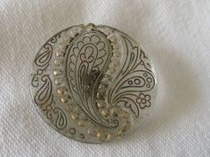 Large ANTIQUE True Lacy Glass Paisley & Flower Button by abandc