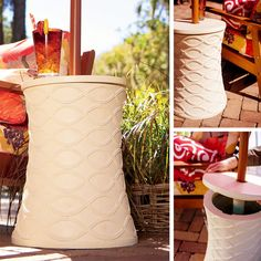 Moroccan-style patio side table holds a umbrella to give you shade while you relax. At night, remove the umbrella and plug up the hole and you've got a outdoor side table to hold your drinks. Outdoor Side Table, Space Saving Storage, Outdoor Lounge Furniture, Marrakesh, Create Space, Moroccan Style, Outdoor Living, Improve Yourself, Home And Garden