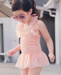 girls bathing suit with ruffles