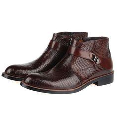 Men's Snake Effect Belt Embellished Leather Boots