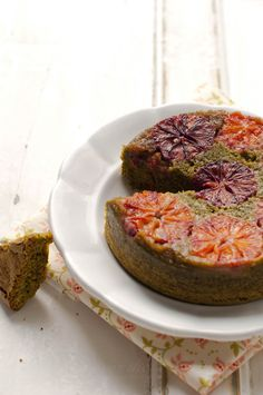 Orange & matcha upside-down cake #eatanddrink