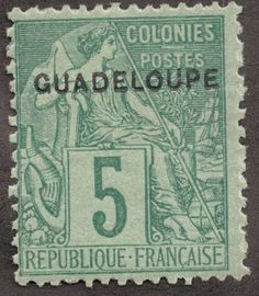 """Guadeloupe  1891 Scott 17 5c green/greenish """"Commerce"""" Stamps of French Colonies overprinted """"Guadeloupe"""""""
