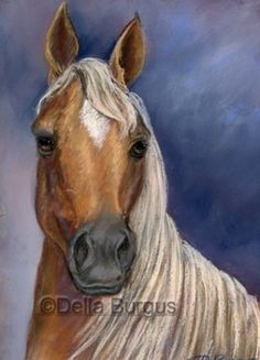Golden Palomino Horse by Della Burgus AHAA, painting by artist Art Helping Animals