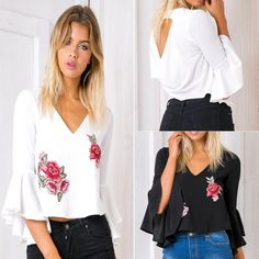 Brandwen New Arrivals Summer Women Sexy V Collar Halter Embroidered Flower Hood Sleeve Shirts Fsahion Female Chiffon Blouses