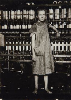 Lewis Hine, Annie Card - Anaemic little spinner in North Pownal Cotton Mill, Vermont, August, 1910. | Tumblr