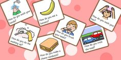 How Question Cards - questions, question words, visual aids, card