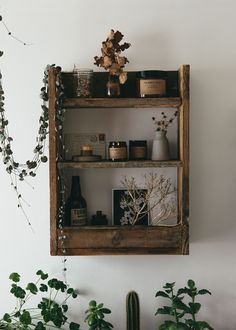 Pallet Wood Shelf, Plants and bohemian candles inspired by adventure, could we love this anymore.
