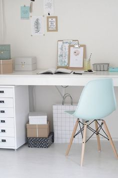Home inspiration for baby blue and grey rooms. Modern scandi desk home office with eames chair Home Office Inspiration, Office Ideas, Interior Inspiration, Office Inspo, Grey Room, Home And Deco, Home Office Design, My New Room, Painted Furniture