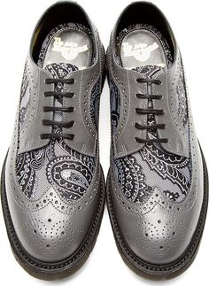 Dr. Martens: Grey Leather Paisley Longwing Brogues – These are A-Freaking-mazing!