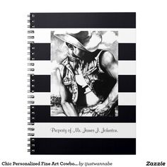 Spiral Notebooks. Chic Personalize with YOUR NAME. Beautiful Fine Art Drawing of a Cowboy printed on the Spiral Notebook. Fast Worldwide shipping. Money Back Guarantee $17.95