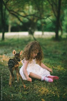 SƜєєɬ Ꮭ♡ⱴɛ (young pretty girl playing with little baby deer by Koki Jovanovic)