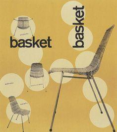 Basket Chair. 1960s Graphic Design Web Design, Retro Design, Book Design, 1950s Design, Design Layouts, Cover Design, Graphic Design Inspiration, Creative Inspiration, Furniture Brochure