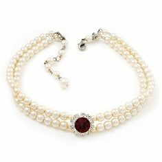 2 Strand Ivory Pearl Style CZ Wedding Choker Necklace (With Ruby Red Central Stone) Avalaya. $27.00. Collection: pearl. Metal Finish: silver plated. Occasion: bridal, cocktail party. Gemstone: cubic zirconia (CZ), glass pearl. Material: pearls