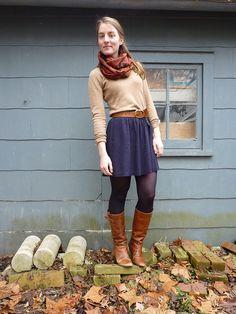 sweater: lxri (filene's basement)  skirt: gap  boots: steve madden  scarf: the streets of SF