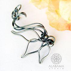 Gloriosa ear cuff  flower on the ear oxidised by AlabamaStudio