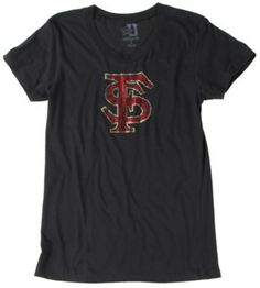 Support your favorite college football team in this soft Florida State University T-Shirt. T-Shirt features short sleeves, round neck and a Florida State Seminoles rhinestone logo design on the front. Quality construction that never goes out of style. GO NOLES.