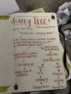 """Using a """"Worry Tree"""" to tackle worry and anxiety can transform your life and help you to remain in control. Self Care Bullet Journal, Bullet Journal Writing, Bullet Journal Ideas Pages, Bullet Journal Anxiety, Worry Tree, Relation D Aide, Daily Journal Prompts, Therapy Journal, Get My Life Together"""