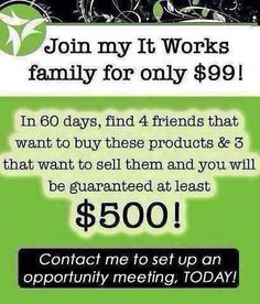 Join my It Works team today! @240-427-8488 call or visit my website Bobbiejeanandie.Itworks.com
