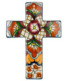 This Talavera wall cross is handmade and hand painted by Mexican pottery artisans. Visit Direct From Mexico to see our whole collection of Talavera crosses. Talavera Pottery, Slab Pottery, Pottery Mugs, Painted Pottery, Pottery Plates, Mosaic Crosses, Wall Crosses, Painted Crosses, Mexican Wall Decor
