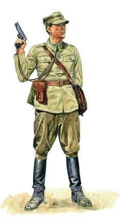 "The Polish officer with the gun ""VIS"" in his hand.He is wearing: -jacket uniform 36 (kórtka mundurowa ""drelichowa"") -trousers 19 (bryczesy -high boots (""oficerki"") -hat 37 (rogatywka -gas-bag 32 (torba na maskę p-gaz WSR Military Gear, Military History, Military Uniforms, Ww2 Uniforms, Poland Ww2, Military Drawings, Camouflage, Central And Eastern Europe, Afghanistan War"