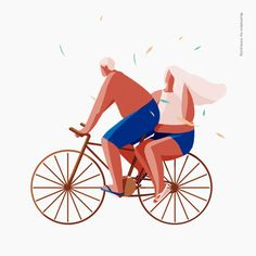 #summer #couple #bike illustration by minkyung